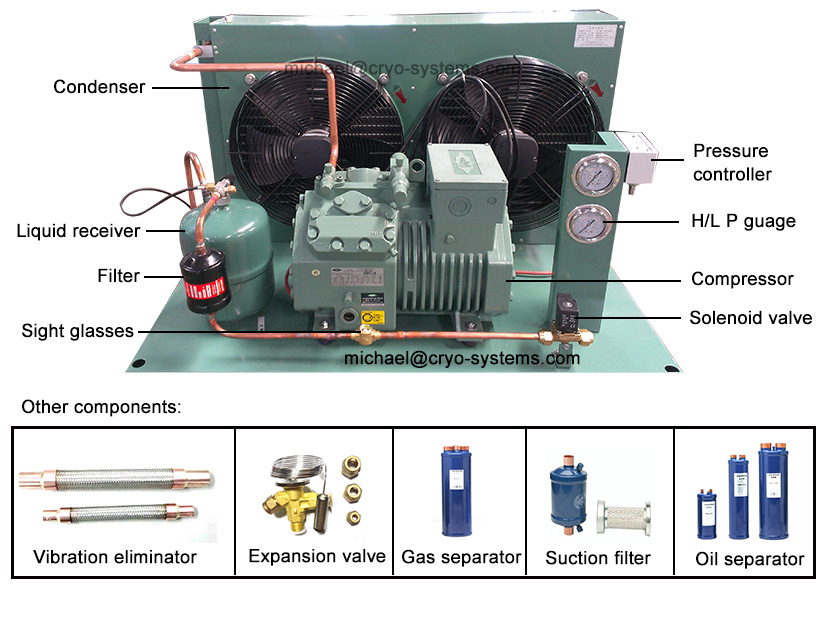 bitzer condensing unit main components, with Danfoss Vibration eliminator, Expansion valve, Gas separatpr
