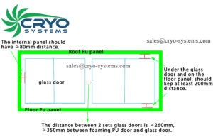 glass door for cold room size design